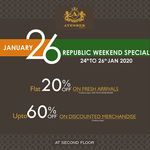 Get 20% off on Fresh Arrivals and 60% off on Discounted Merchandise.