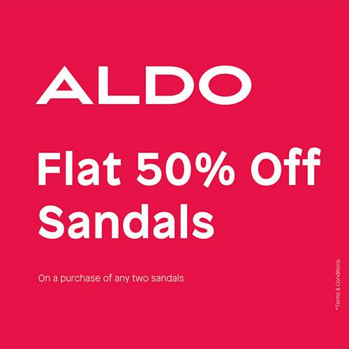 Flat 50% Off Sandals.