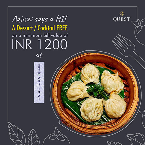 Aajisai is offering a Dessert / Cocktail FREE on a minimum bill value of INR 1200. What's not to love about it.