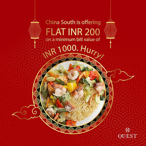 China South has got a treat for your mouth. FLAT INR 200 on a minimum bill value of INR 1000. What are you waiting for?